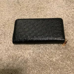 Black Ostrich Leather Wallet